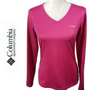 COLUMBIA Omni Wick Pink V Neck Long Sleeve Top XS